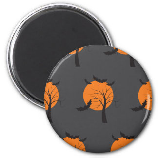 Dead tree, orange moon and bats Halloween 2 Inch Round Magnet