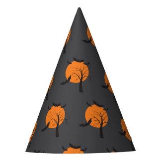 Dead tree, orange moon and bats Halloween Party Hat