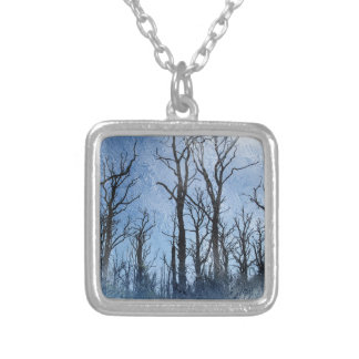 Dead Trees in Blue Silver Plated Necklace