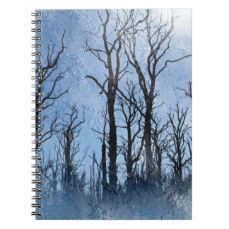 Dead Trees in Blue Spiral Note Books