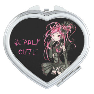 deadly cute Yumi gothic style make up black & pink Mirrors For Makeup