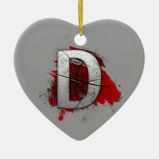 Deadly Design Monogram Letter D Ceramic Heart Ornament