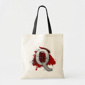 Deadly Design Monogram Letter Q Tote Bag