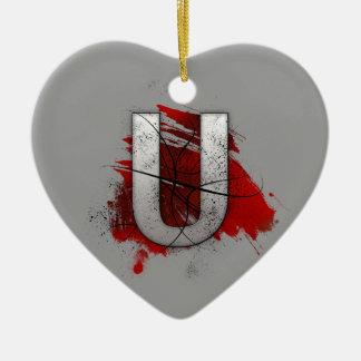 Deadly Design Monogram Letter U Ceramic Heart Ornament