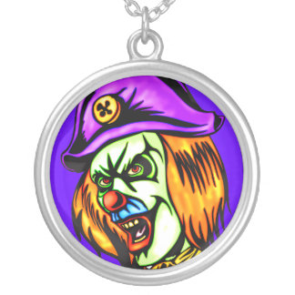 Deadly Evil Clown Silver Plated Necklace
