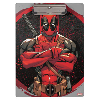 Deadpool in Paint Splatter Logo Clipboard