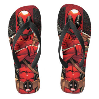 Deadpool in Paint Splatter Logo Flip Flops