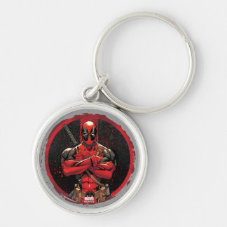 Deadpool in Paint Splatter Logo Silver-Colored Round Keychain