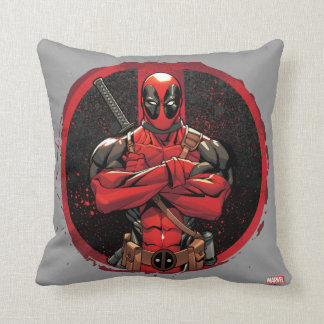Deadpool in Paint Splatter Logo Throw Pillow