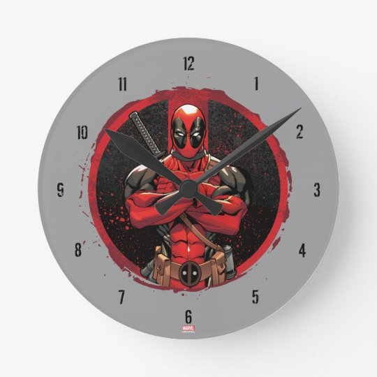 Deadpool in Paint Splatter Logo Wall Clock