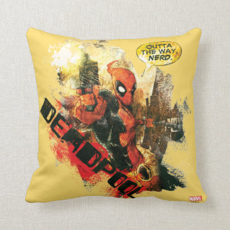 Deadpool Outta The Way Nerd Throw Pillow
