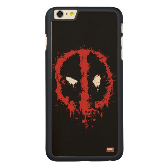 Deadpool Paint Splatter Logo Carved® Maple iPhone 6 Plus Case
