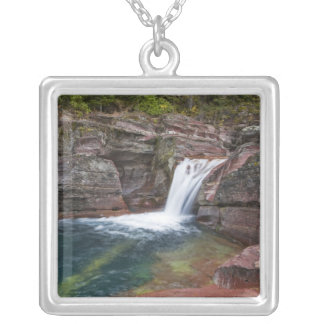 Deadwood Falls on Reynolds Creek in autumn in Silver Plated Necklace