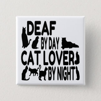 Deaf Cat Lover 2 Inch Square Button