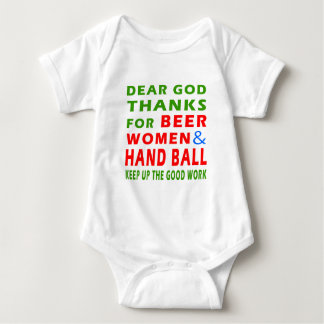 Dear God Thanks For Beer Women And Hand Ball Baby Bodysuit