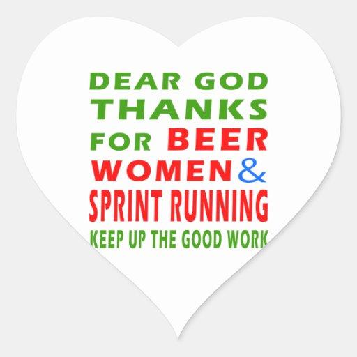 Dear God Thanks For Beer Women And Sprint Running Heart Sticker