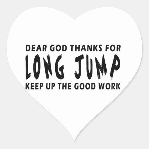 Dear God Thanks For Long Jump Heart Stickers