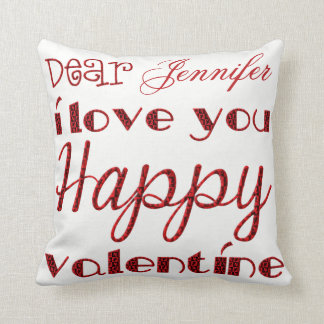 Dear I Love You Cute Cupid Typography Valentine Throw Pillow