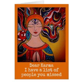 Dear Karma, humor card Zen meditation boho