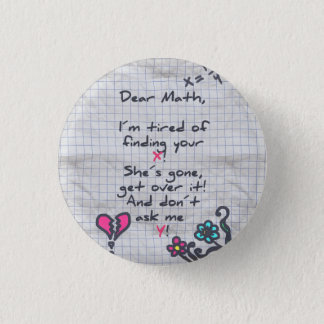 Dear Math 1 Inch Round Button