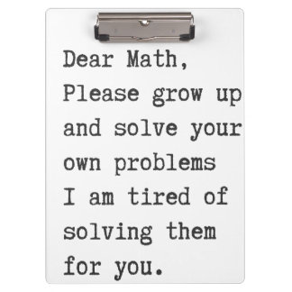 Dear math solve your own problems clipboard