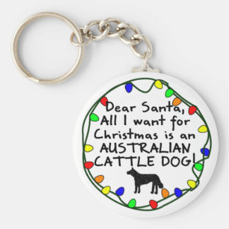 Dear Santa Australian Cattle Dog Keychain