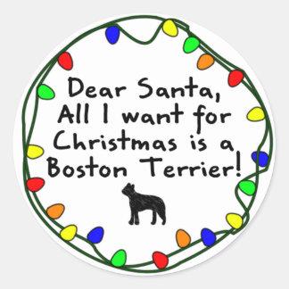 Dear Santa Boston Terrier Classic Round Sticker