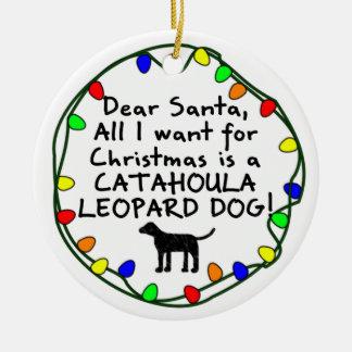 Dear Santa Catahoula Leopard Dog Ceramic Ornament