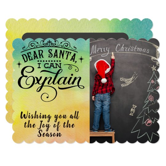 Dear Santa/Christmas/2-Sided Card/Watercolor Card