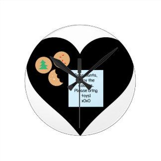 Dear Santa Cookies Bring Toys Black Heart Wall Clock