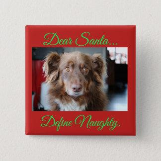 Dear Santa, Define Naughty Funny Dog Button