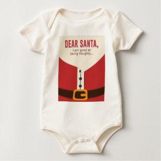 Dear Santa Good Bad Nice Naughty List Funny Design Baby Bodysuit