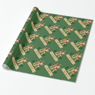 Dear Santa Green Red-Nosed Reindeer Wrapping Paper