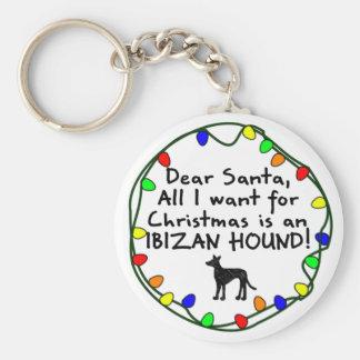 Dear Santa Ibizan Hound Basic Round Button Keychain