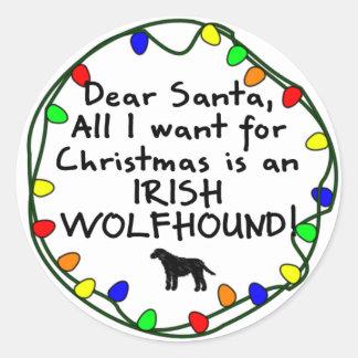 Dear Santa Irish Wolfhound Classic Round Sticker