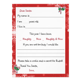 Dear Santa Letter, Candy Canes and Snowflakes Customized Letterhead