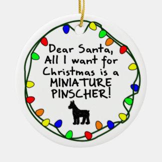 Dear Santa Miniature Pinscher Ceramic Ornament