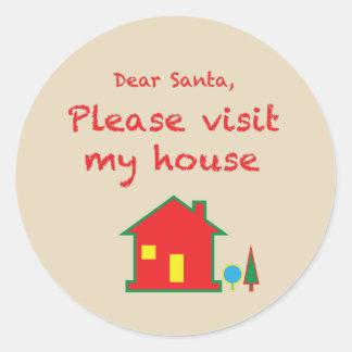 Dear Santa Please Visit My House Classic Round Sticker