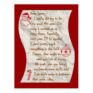 Dear Santa, Postcard