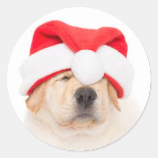 Dear Santa Puppy Classic Round Sticker
