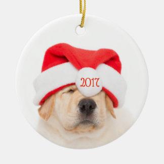 Dear Santa Puppy No Peeking Ceramic Ornament