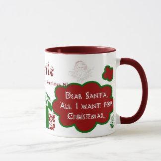 Dear Santa Ringer Mug - Personalize Name/Message