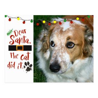 Dear Santa, the cat did it - Dog-Lover Postcard