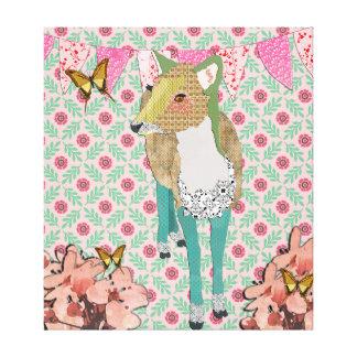 Dearly Deer Floral Canvas Art Canvas Print