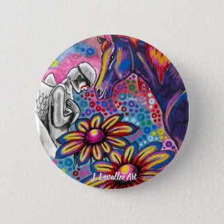 """Death and Her Horse, Life"" 2 Inch Round Button"