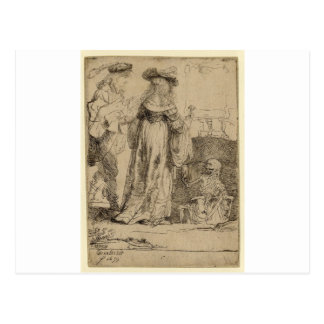 Death appearing to a wedded couple by Rembrandt Postcard