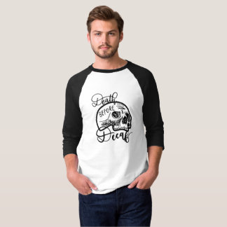 Death Before Decaf Raglan/Baseball Tee