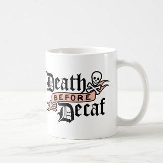 Death Before Decaf   Skull Typography Coffee Mug