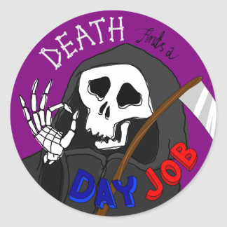Death Finds A Day Job Cartoon Sticker