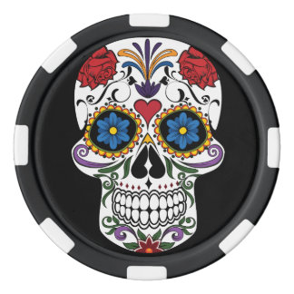 Death head flowers poker chips
